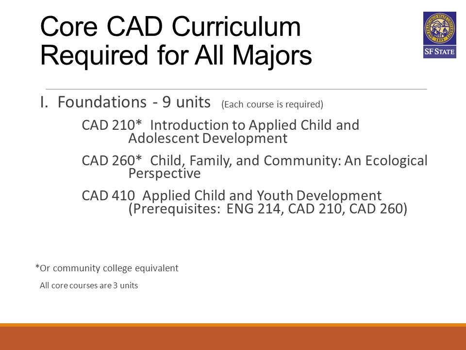 Core CAD Curriculum Required for All Majors