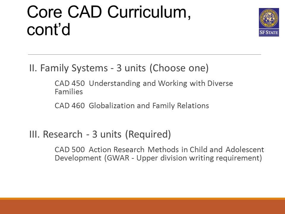 Core CAD Curriculum, cont'd