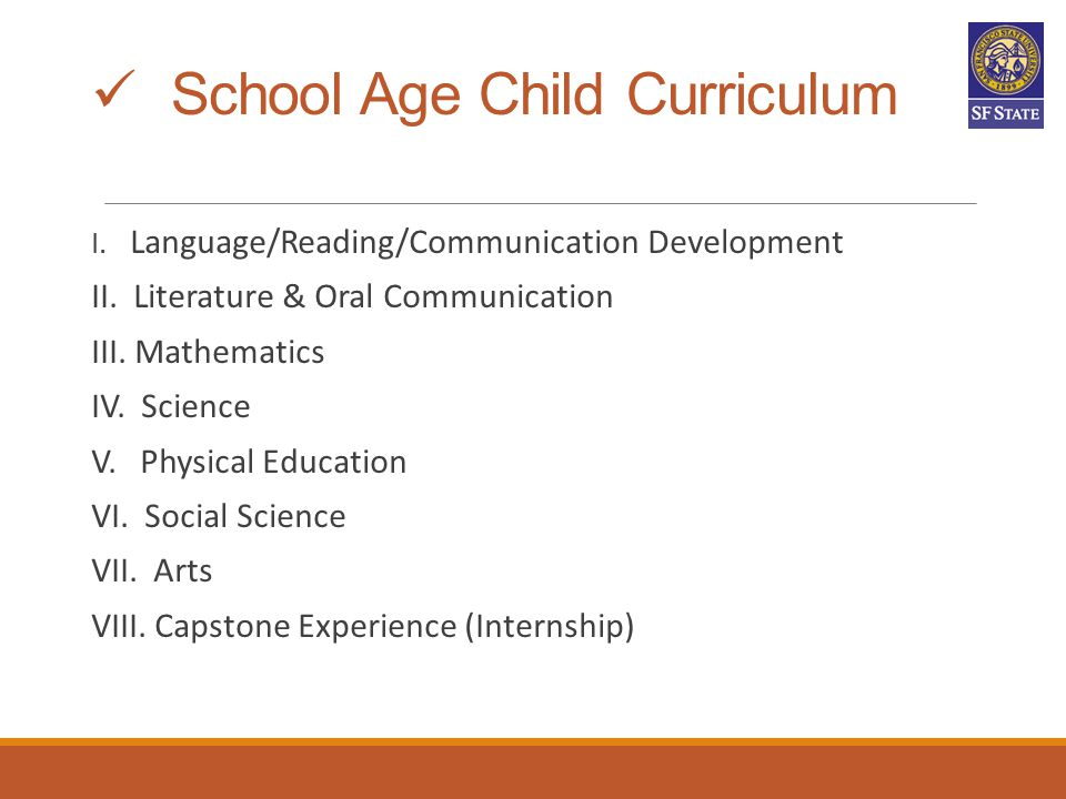 School Age Child Curriculum
