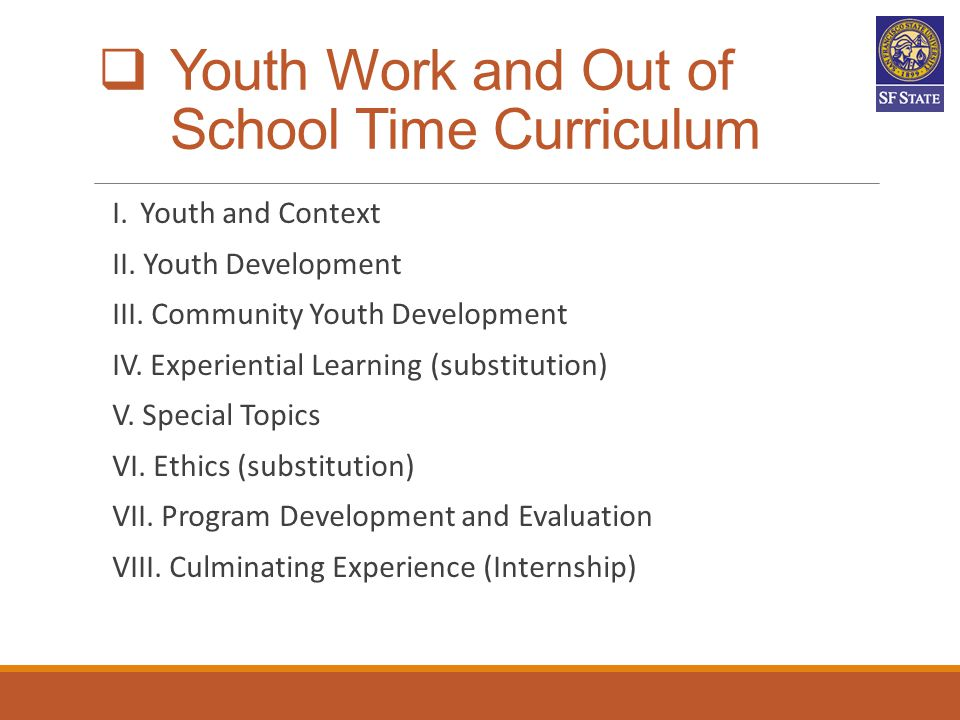 Youth Work and Out of School Time Curriculum