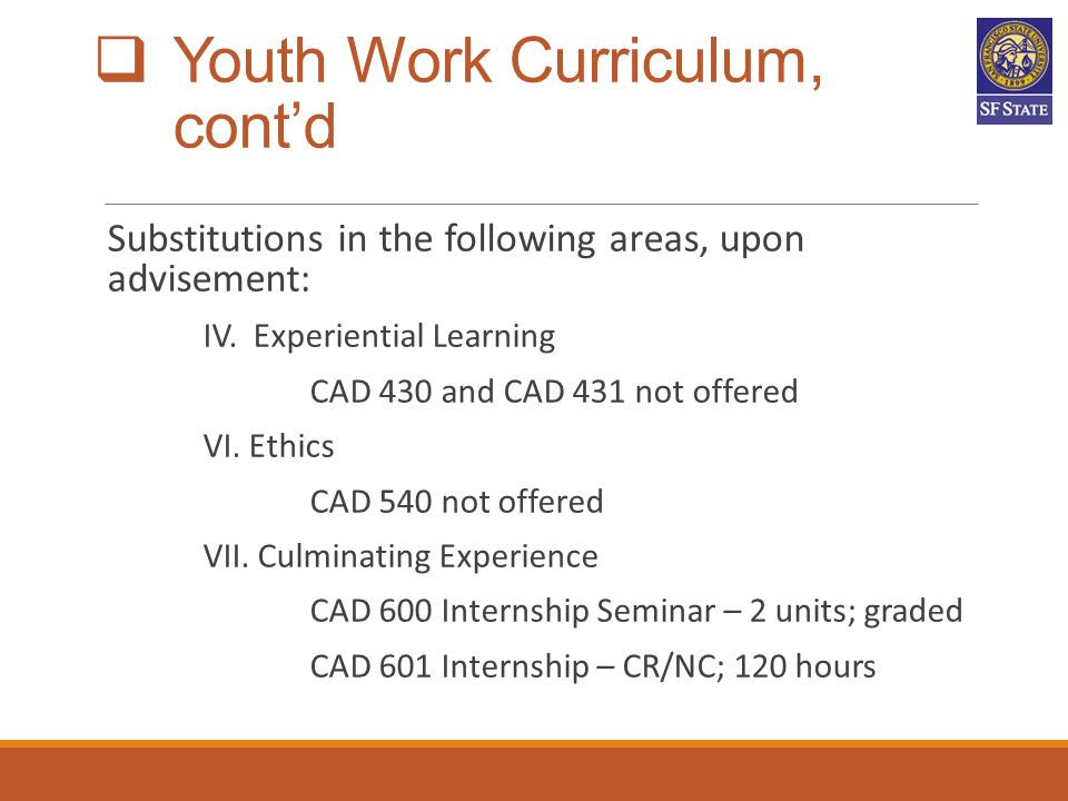 Youth Work Curriculum, cont'd