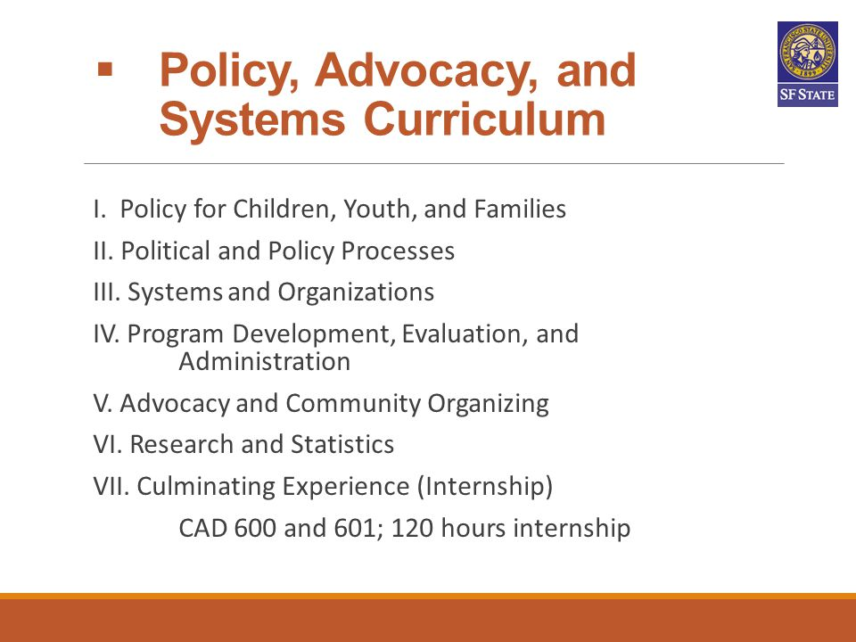 Policy, Advocacy, and Systems Curriculum