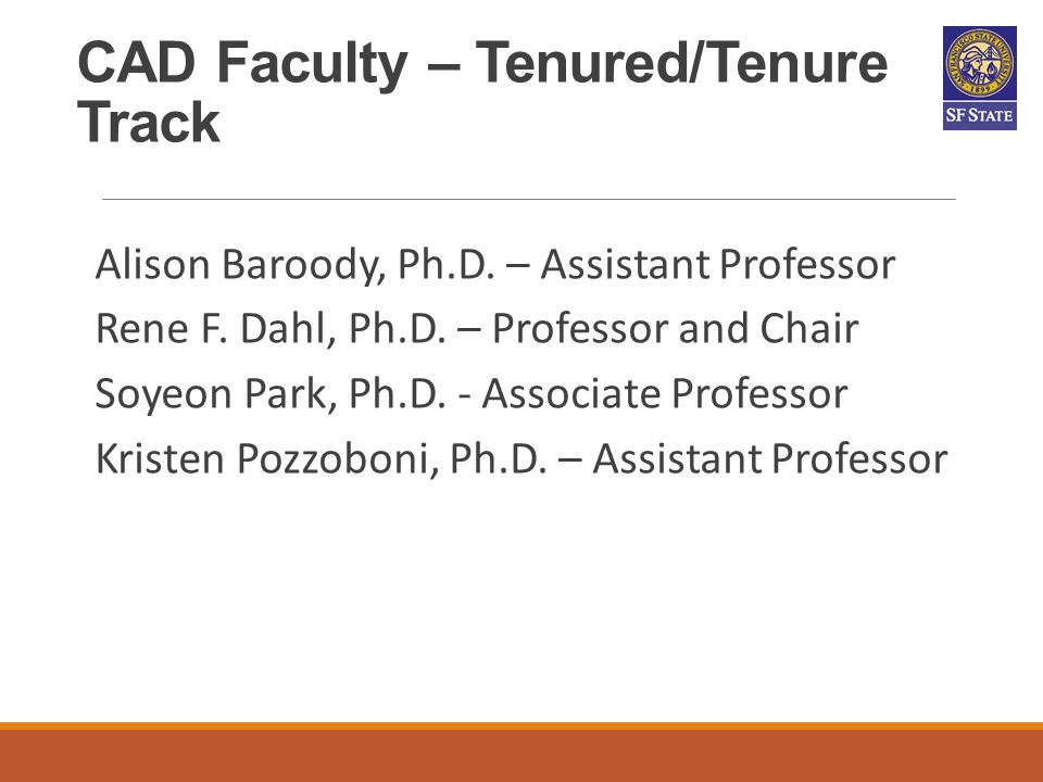CAD Faculty – Tenured/Tenure Track