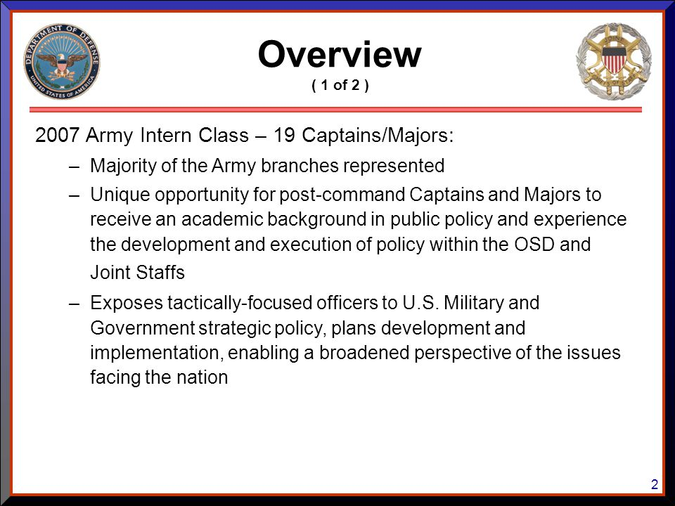 Overview 2007 Army Intern Class – 19 Captains/Majors: