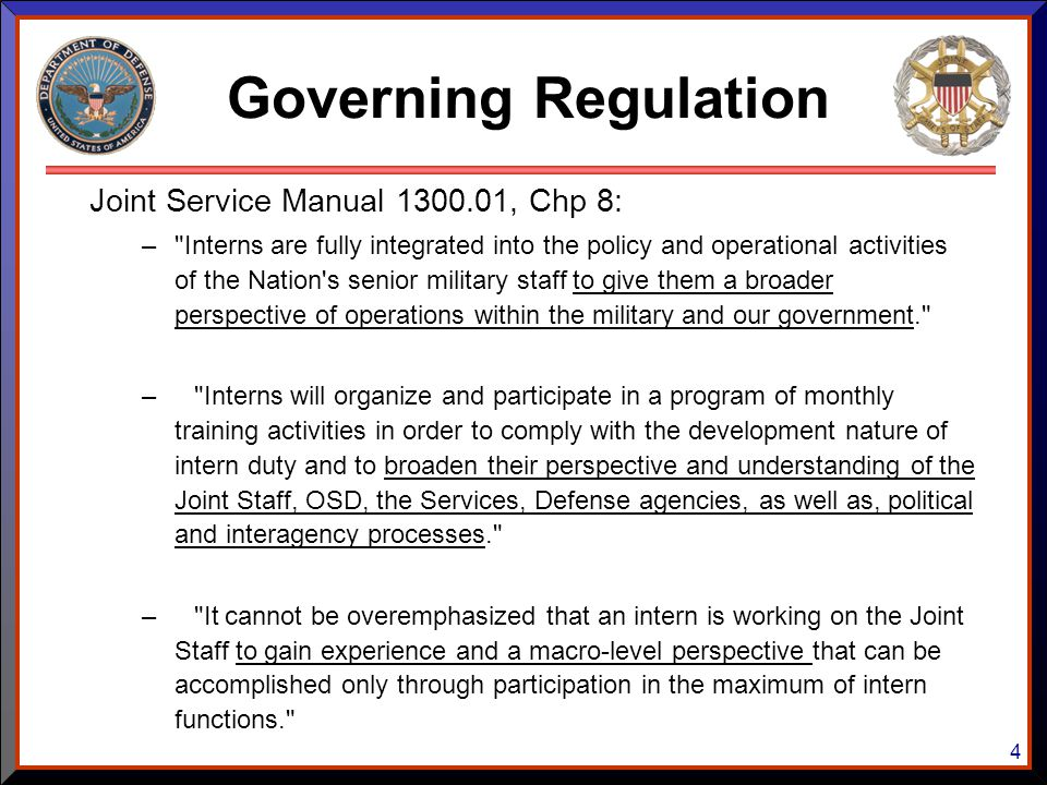 Governing Regulation Joint Service Manual 1300.01, Chp 8: