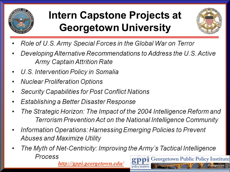 Intern Capstone Projects at Georgetown University