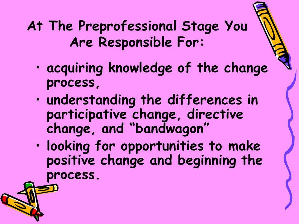 At The Preprofessional Stage You Are Responsible For:
