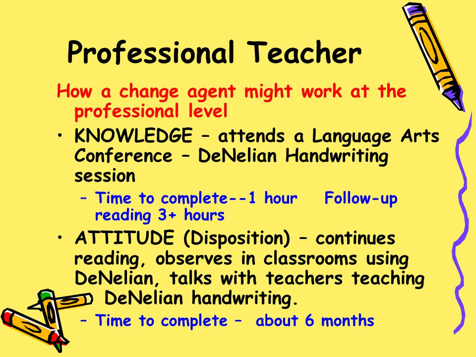 Professional Teacher How a change agent might work at the professional level:
