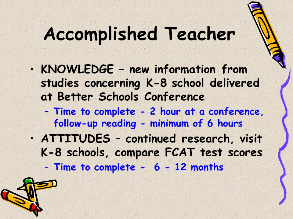 Accomplished Teacher KNOWLEDGE – new information from studies concerning K-8 school delivered at Better Schools Conference.