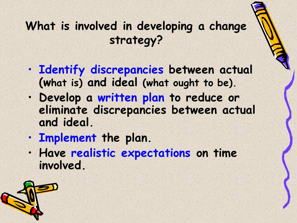 What is involved in developing a change strategy