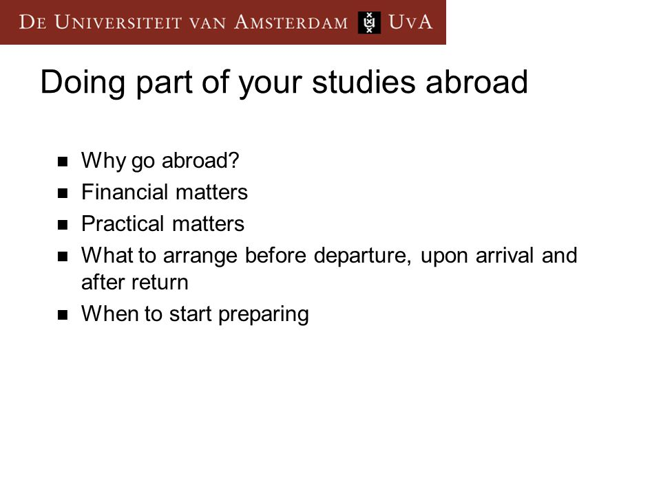 Doing part of your studies abroad