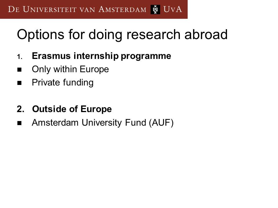 Options for doing research abroad