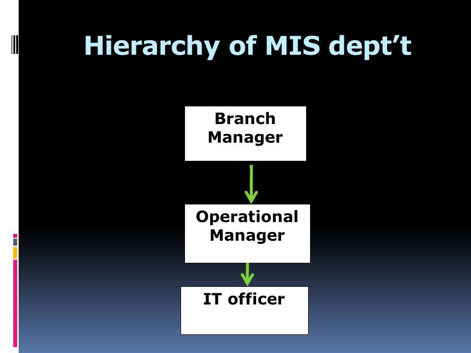 Hierarchy of MIS dept't