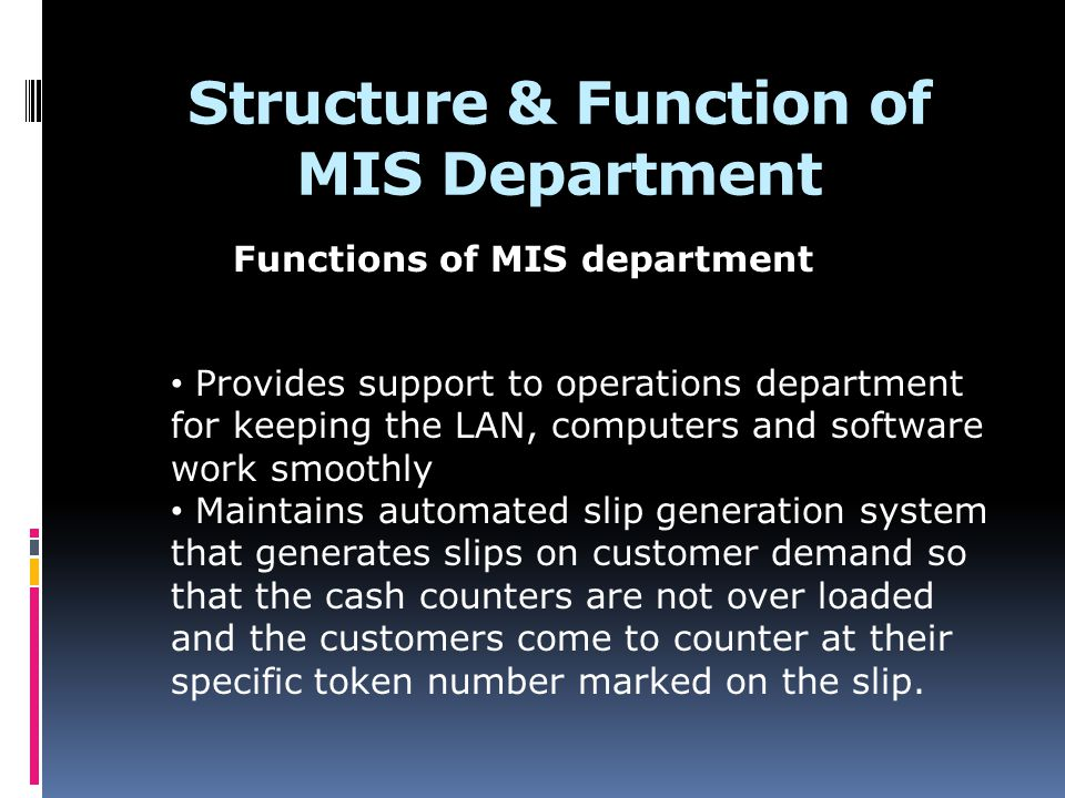 Structure & Function of MIS Department