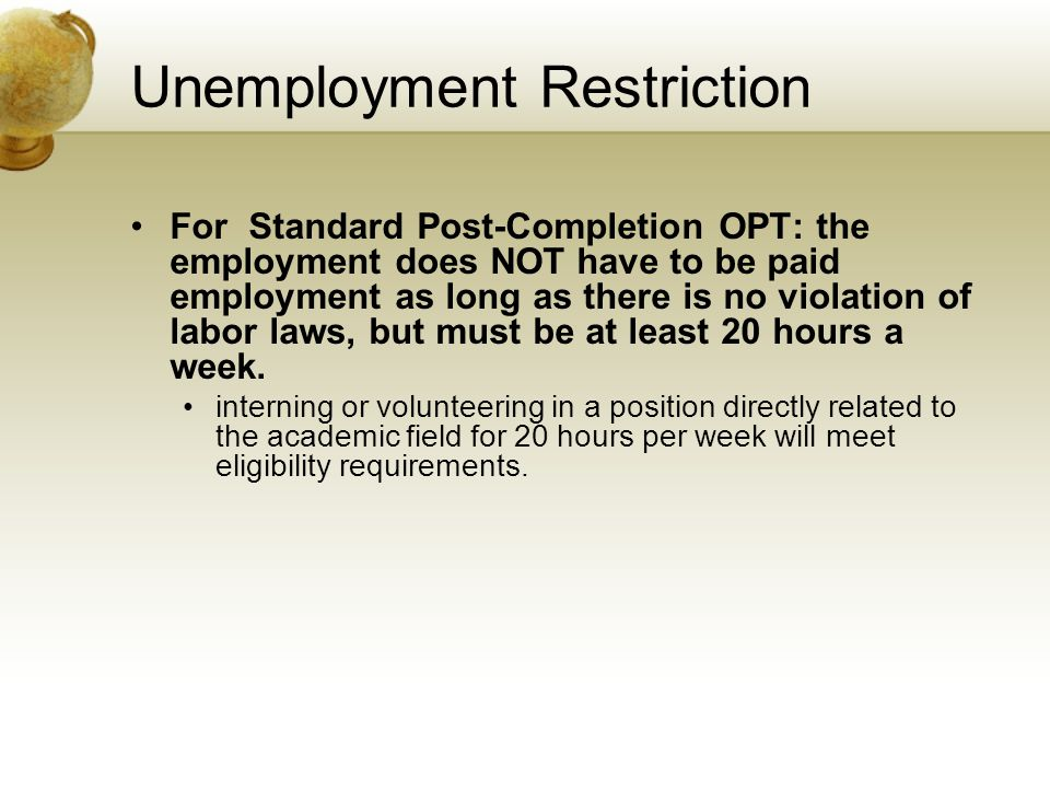 Unemployment Restriction