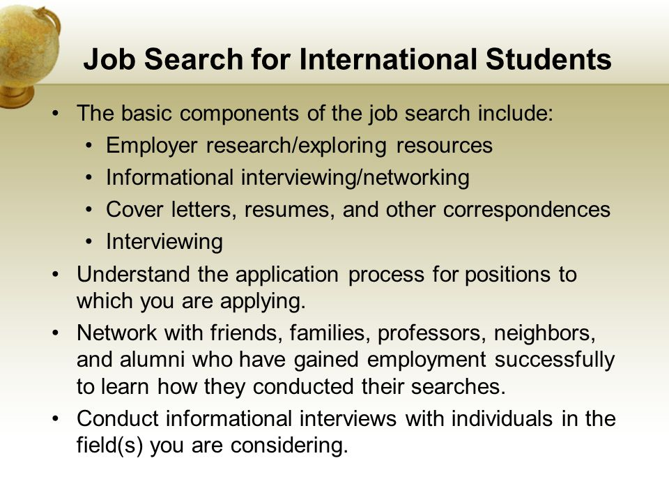 Job Search for International Students