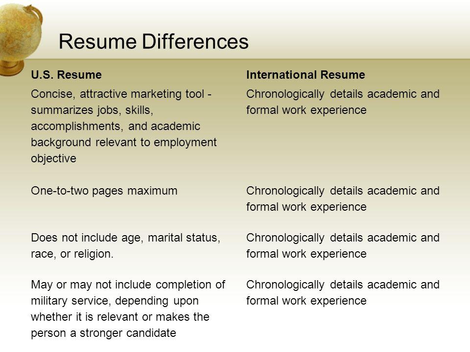 Resume Differences U.S. Resume International Resume