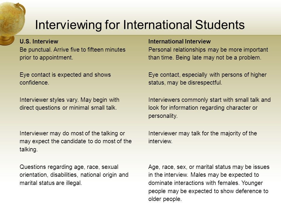 Interviewing for International Students