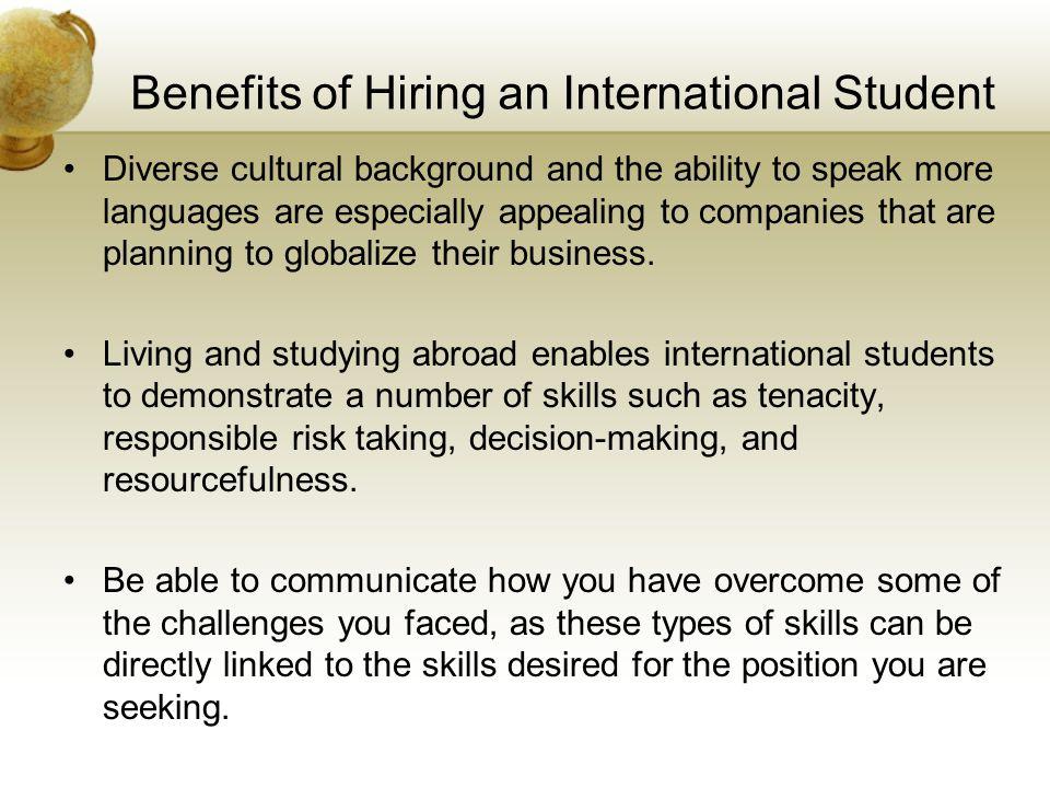 Benefits of Hiring an International Student