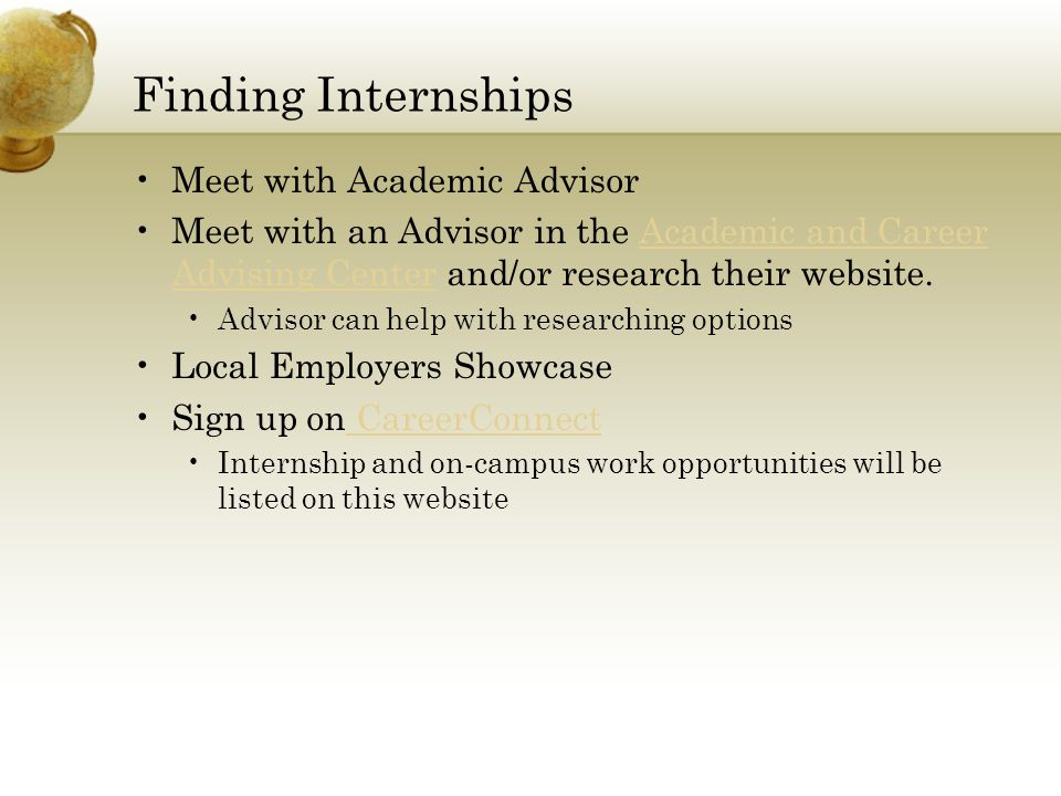 Finding Internships Meet with Academic Advisor
