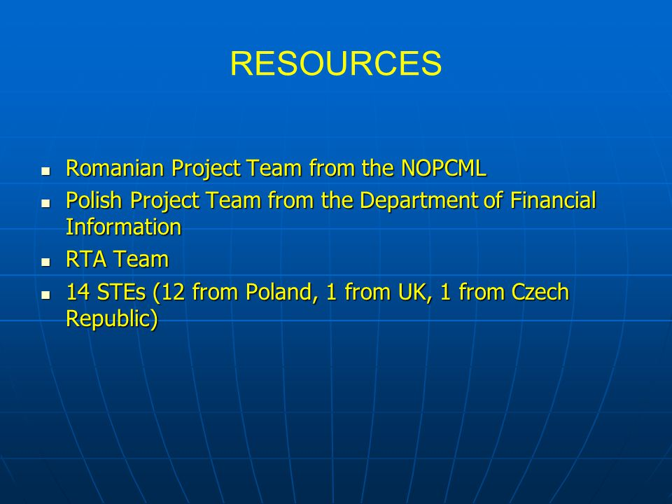 RESOURCES Romanian Project Team from the NOPCML