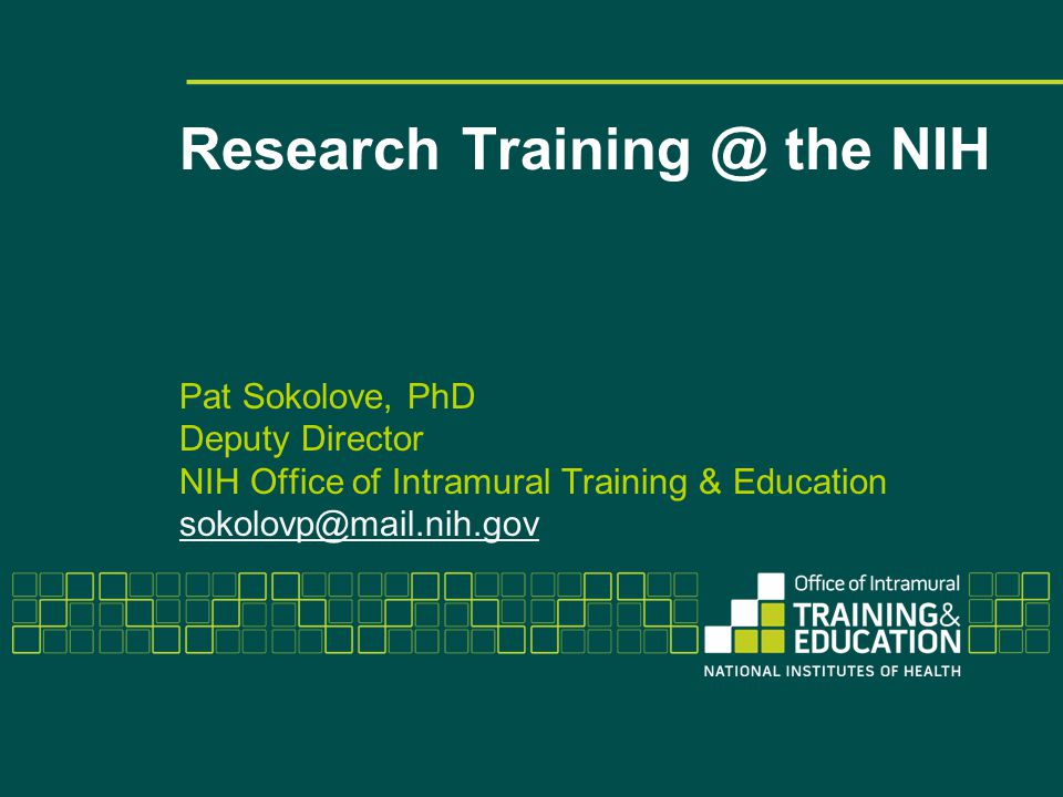 Research Training @ the NIH Pat Sokolove, PhD Deputy Director NIH Office of Intramural Training & Education sokolovp@mail.nih.gov