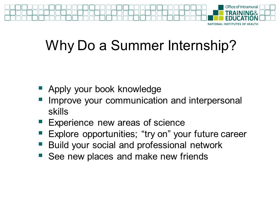Why Do a Summer Internship