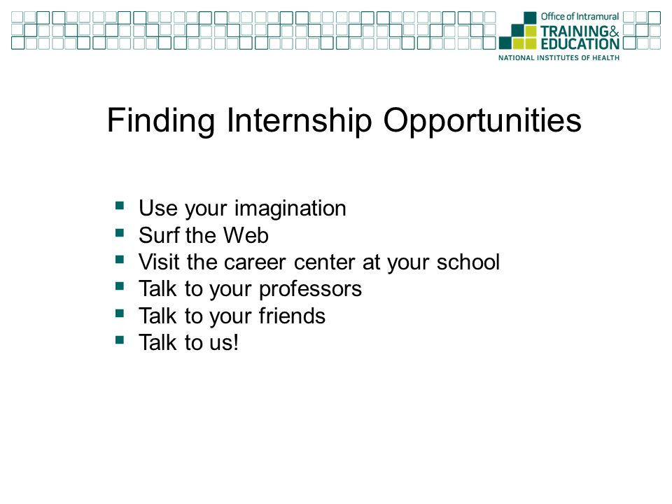 Finding Internship Opportunities