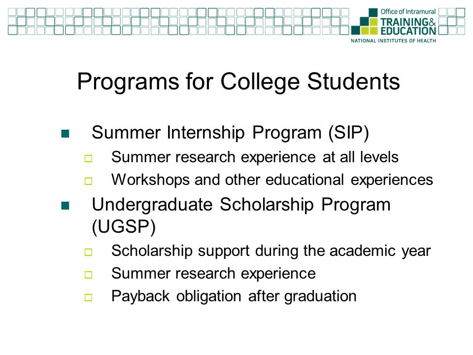 Programs for College Students