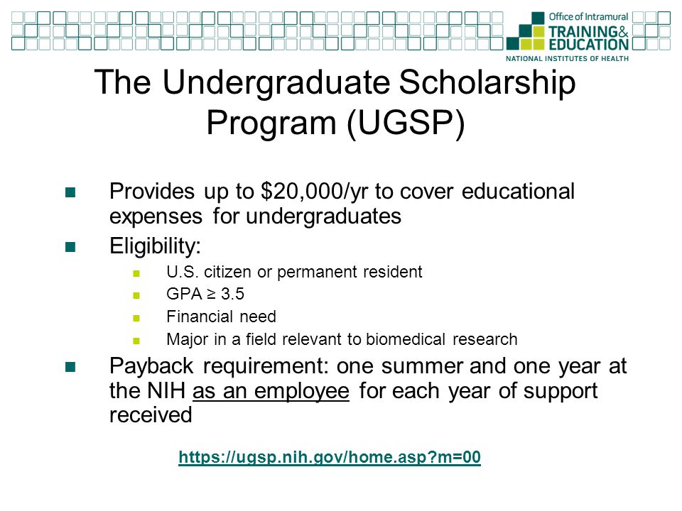 The Undergraduate Scholarship Program (UGSP)