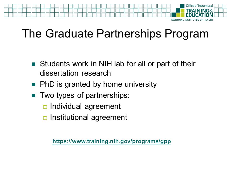 The Graduate Partnerships Program