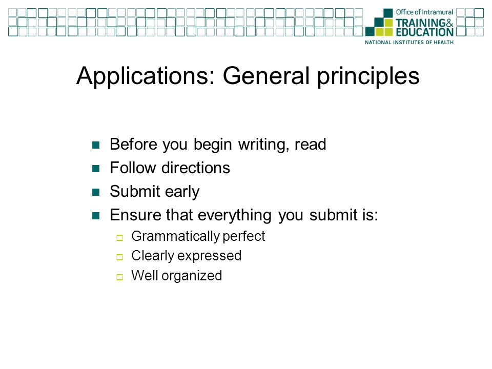Applications: General principles