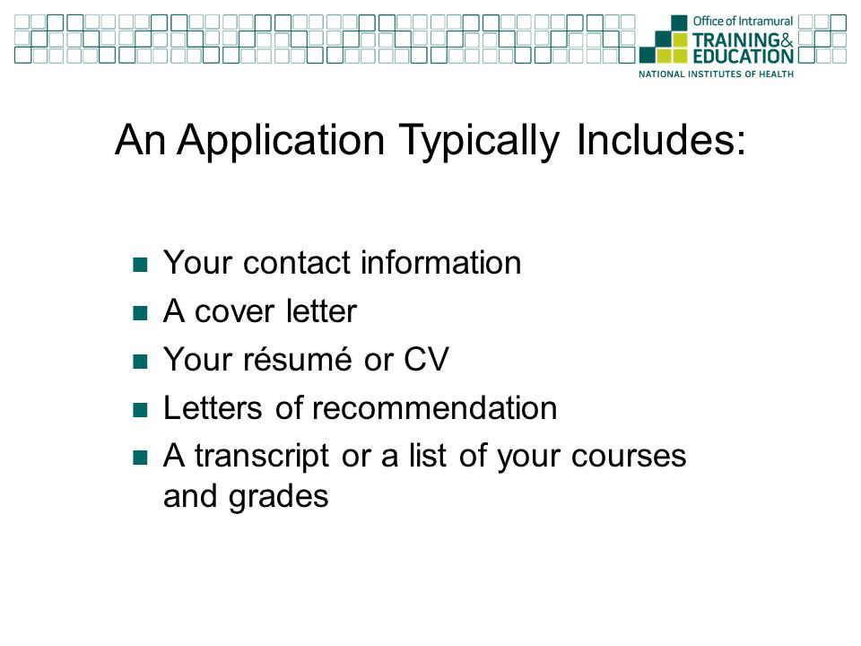 An Application Typically Includes: