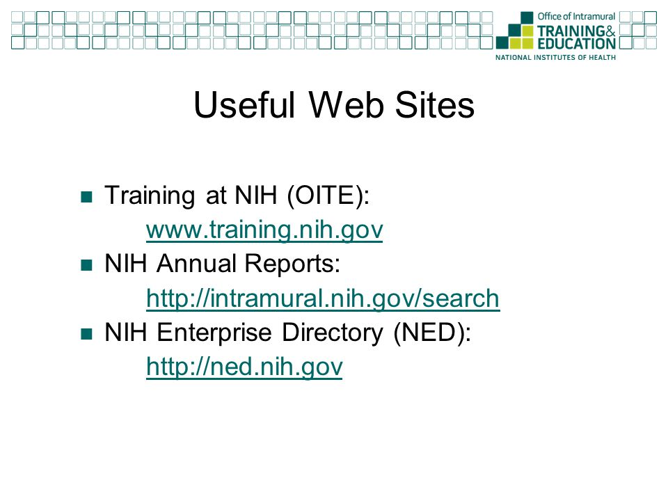 Useful Web Sites Training at NIH (OITE): www.training.nih.gov