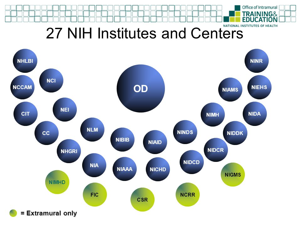 27 NIH Institutes and Centers