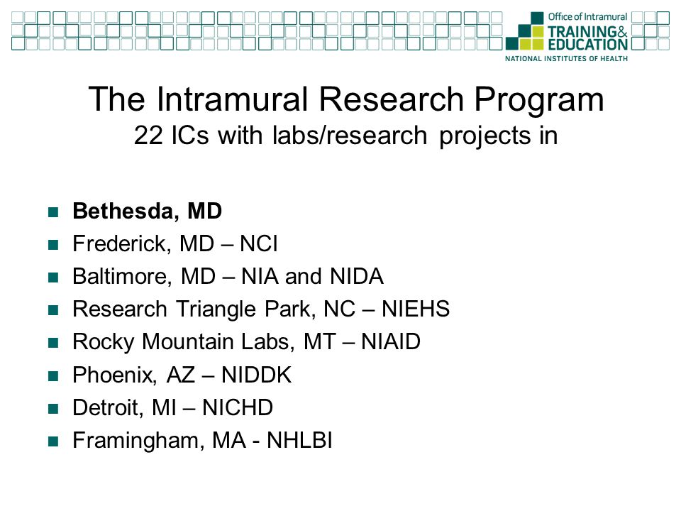 The Intramural Research Program 22 ICs with labs/research projects in