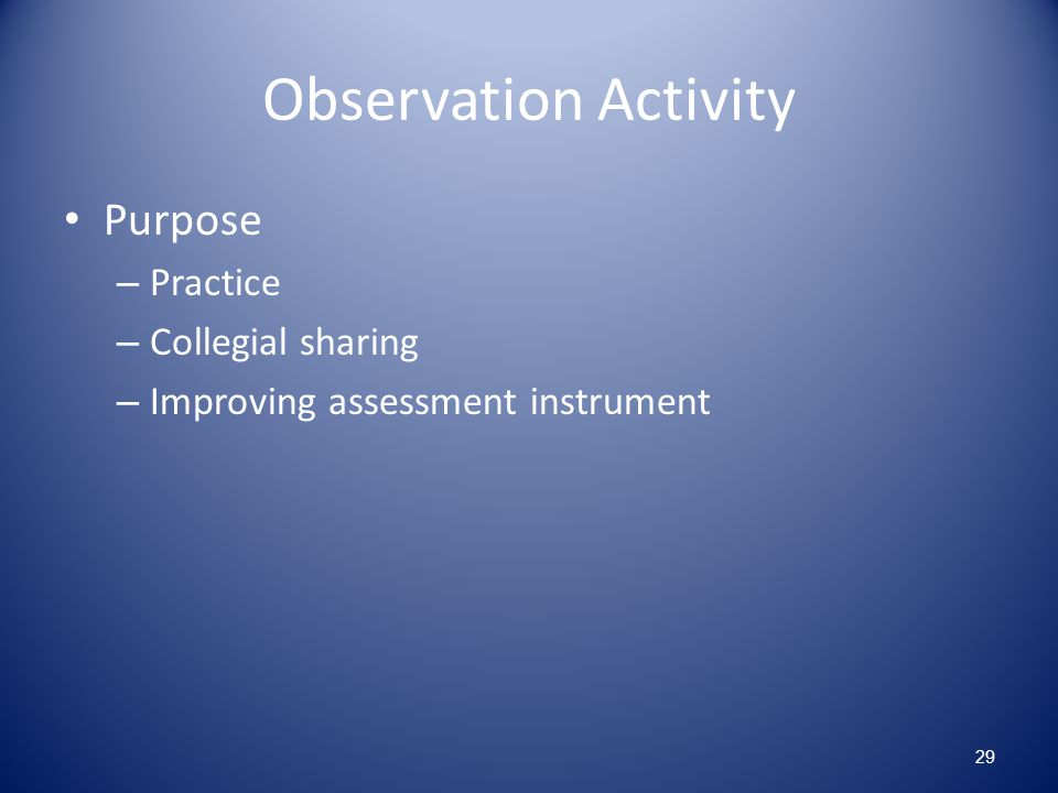 Observation Activity Purpose Practice Collegial sharing