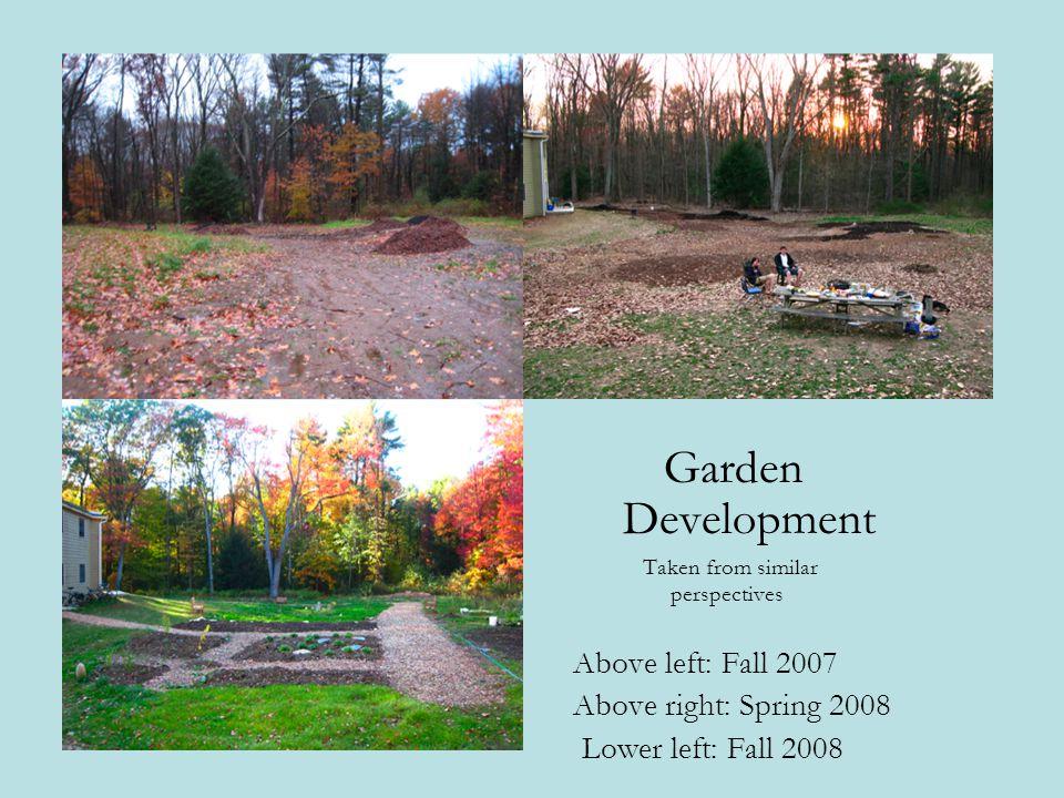 Garden Development Above left: Fall 2007 Above right: Spring 2008