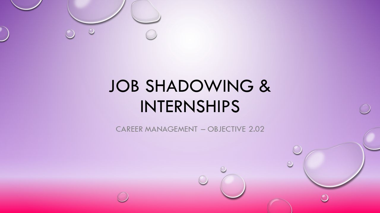 Job Shadowing & Internships