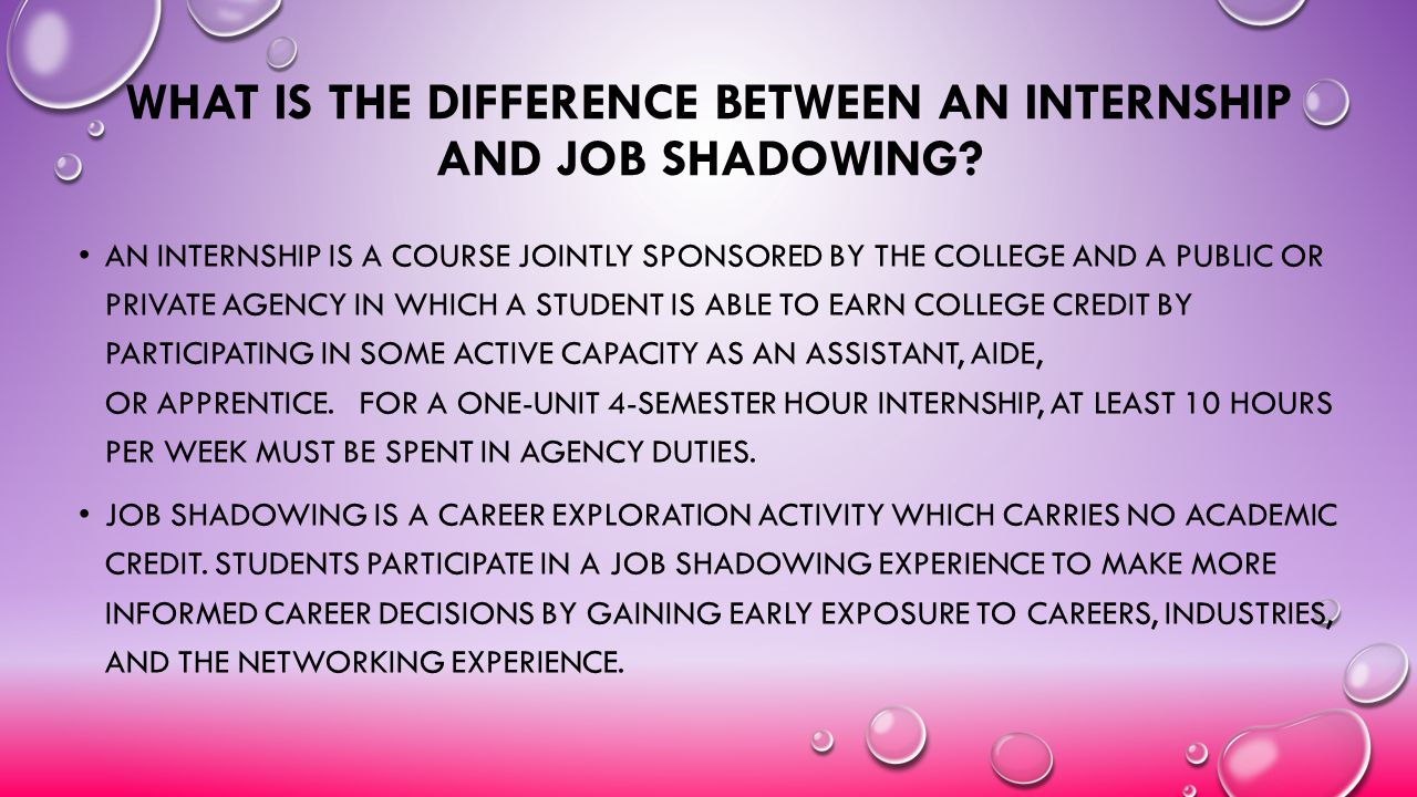 What is the difference between an internship and job shadowing