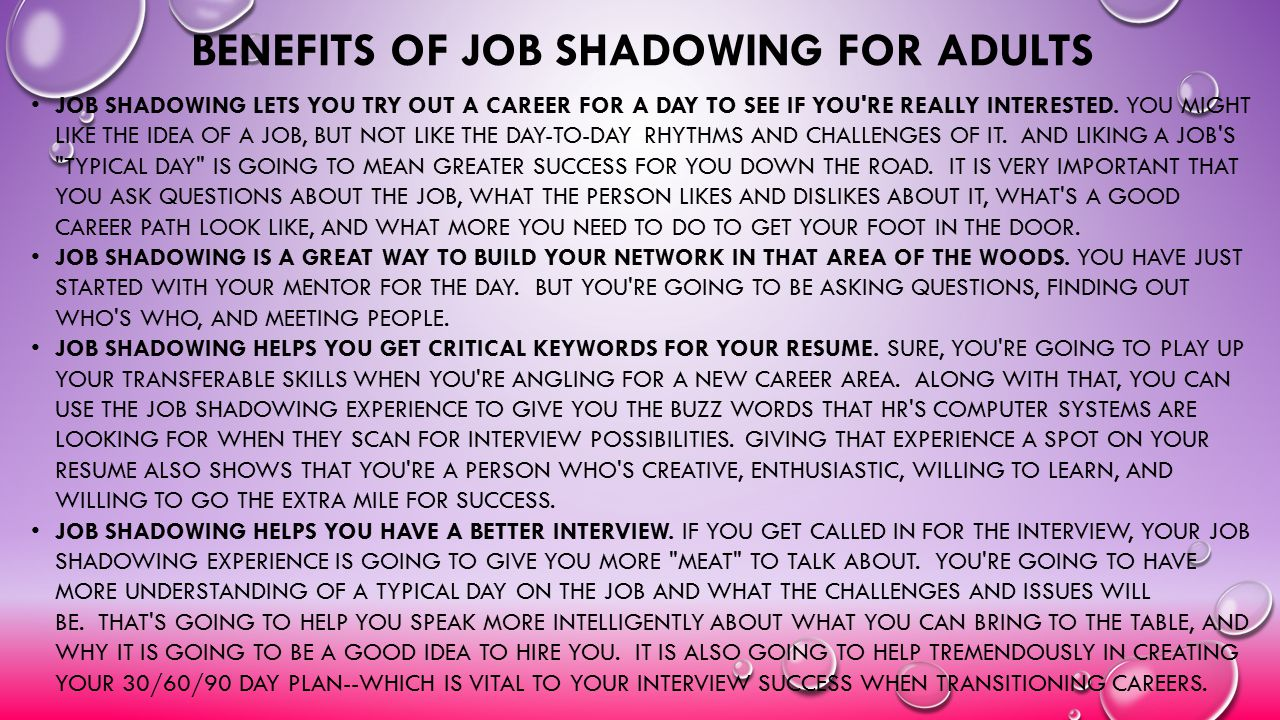 Benefits of job shadowing for adults