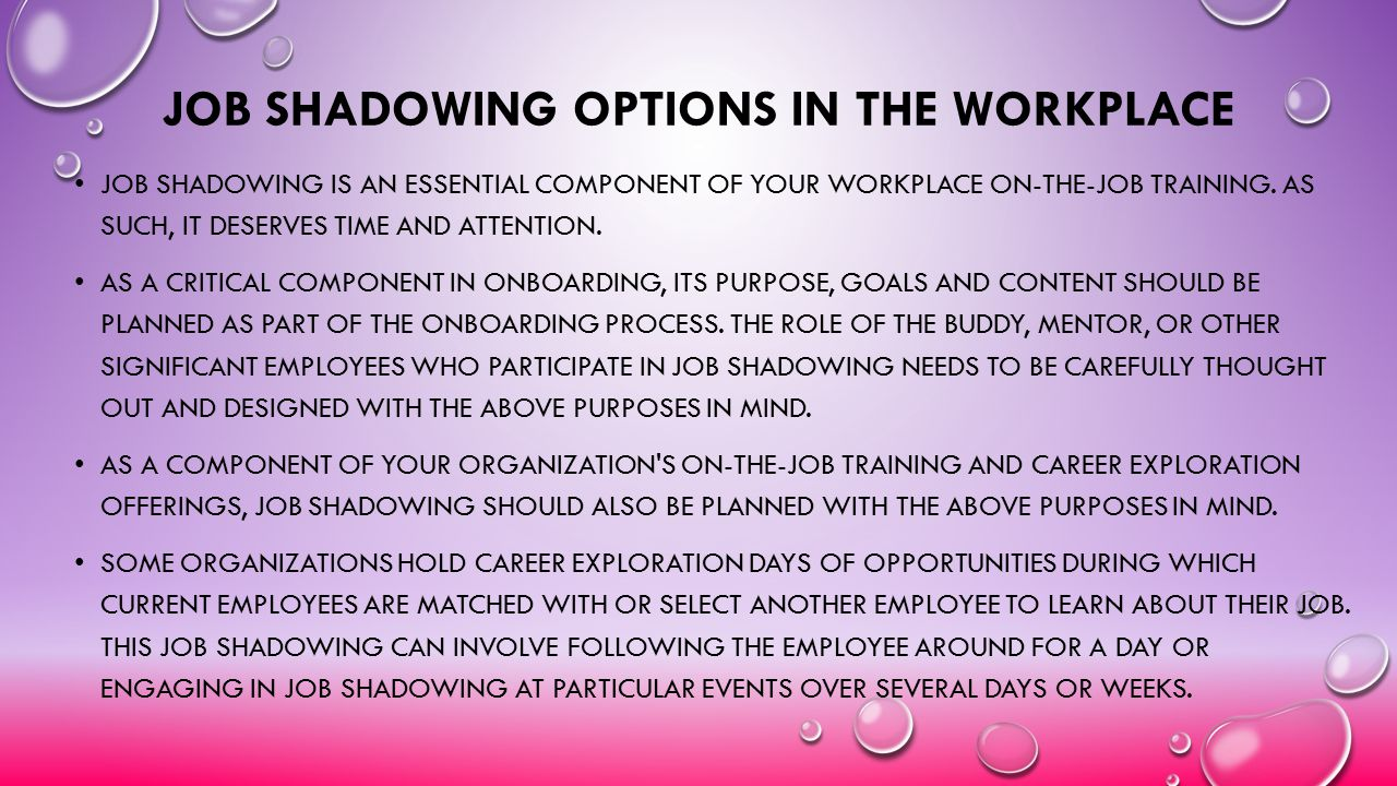 Job Shadowing Options in the Workplace