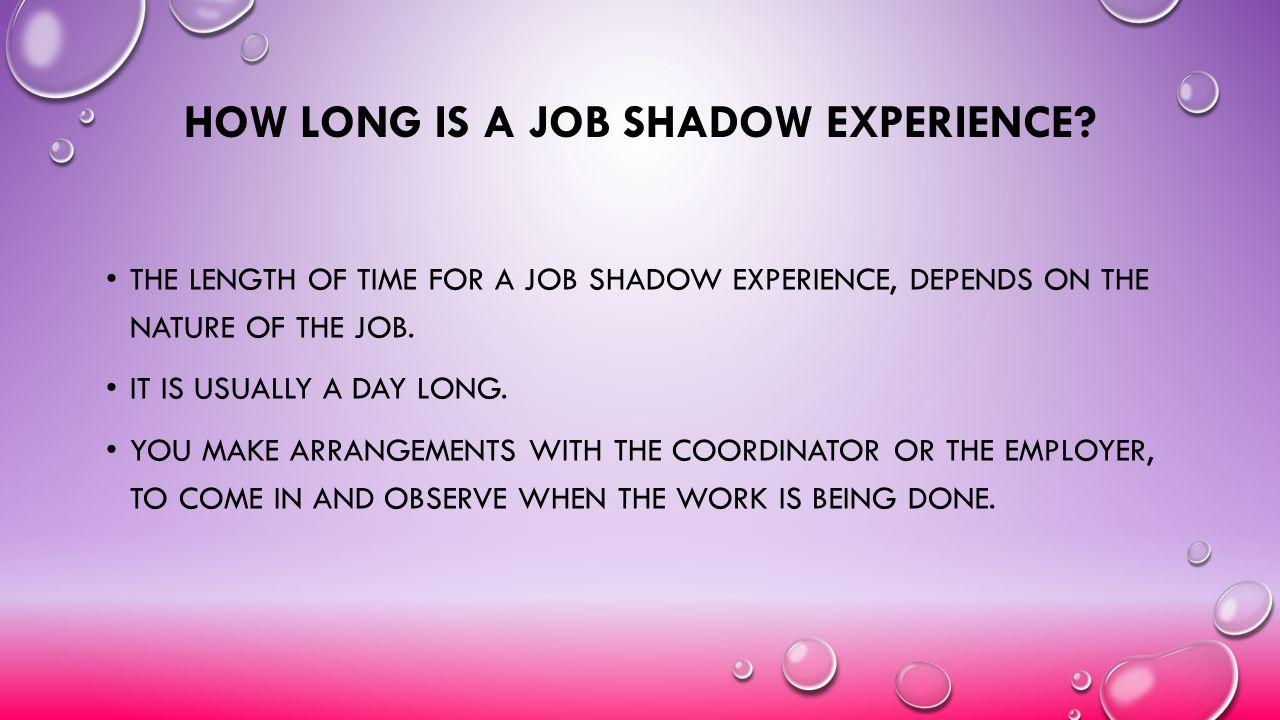 How long is a Job Shadow Experience