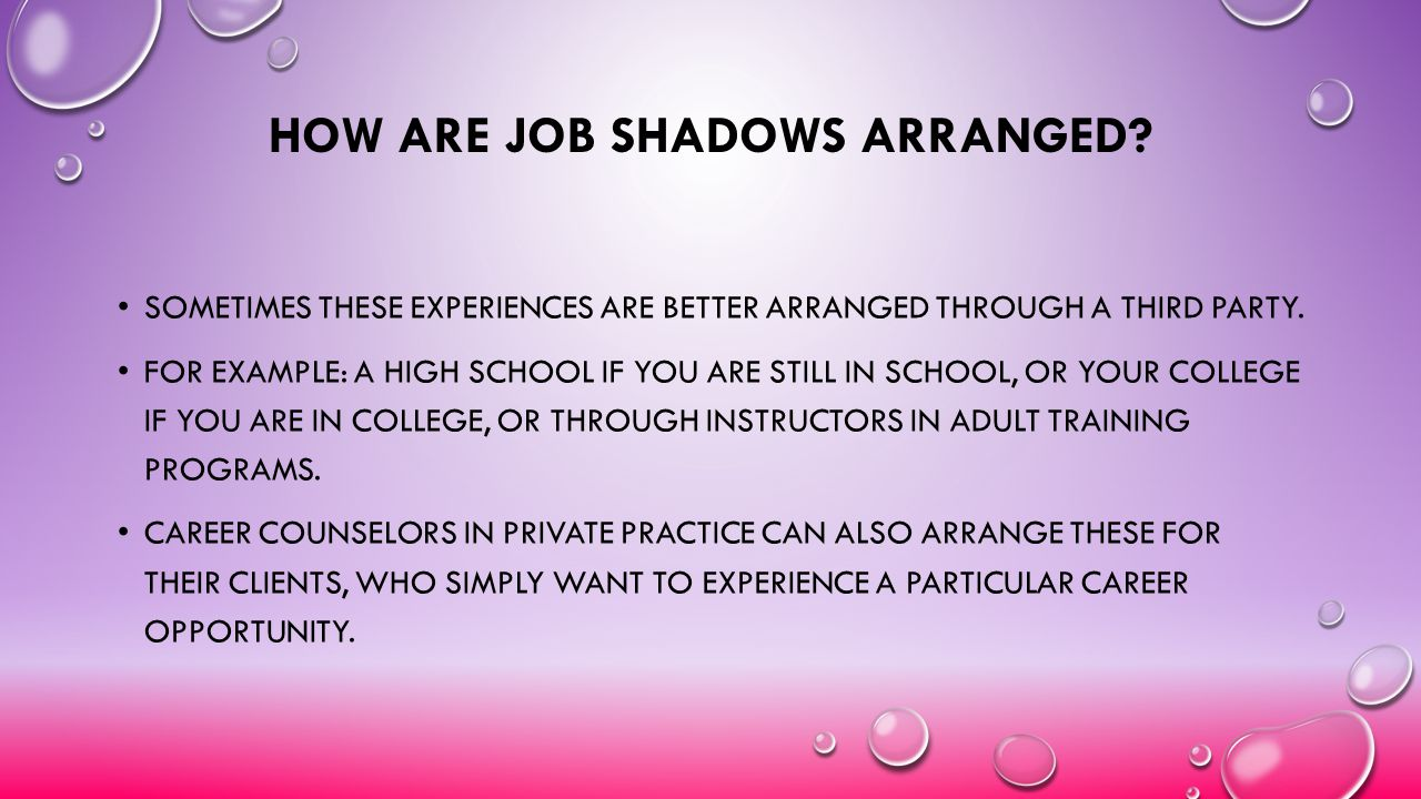 How are Job Shadows arranged