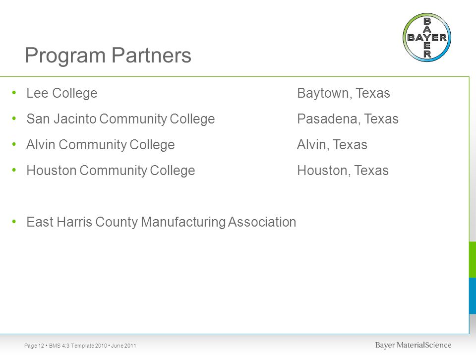 Program Partners Lee College Baytown, Texas