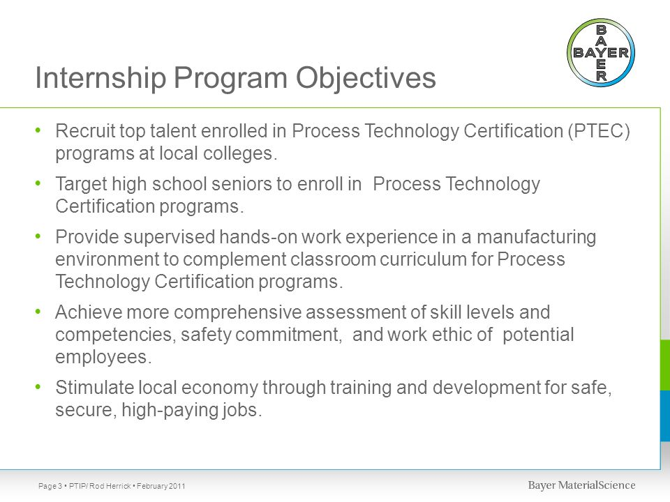 Internship Program Objectives