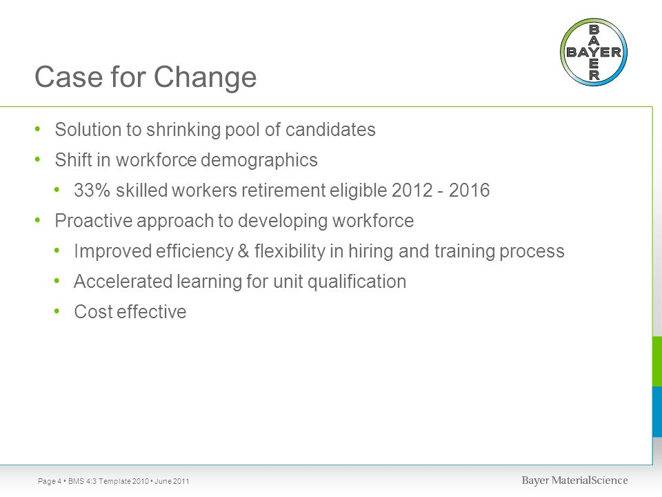 Case for Change Solution to shrinking pool of candidates