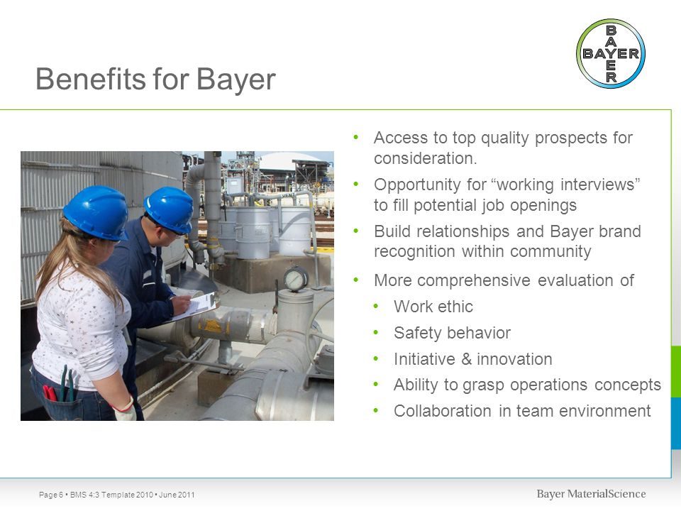 Benefits for Bayer Access to top quality prospects for consideration.