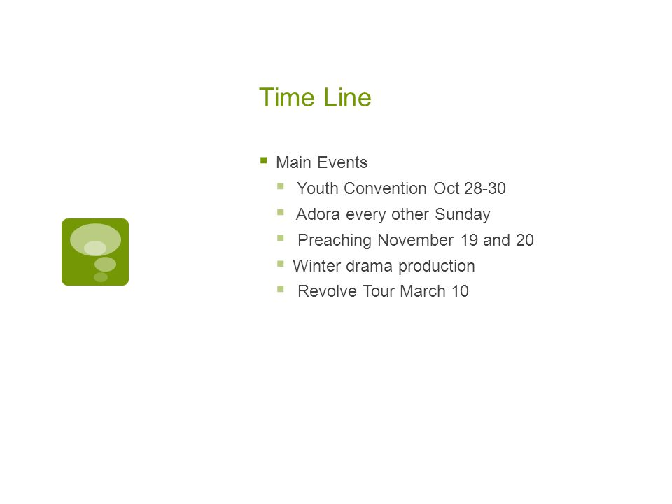 Time Line Main Events Youth Convention Oct 28-30