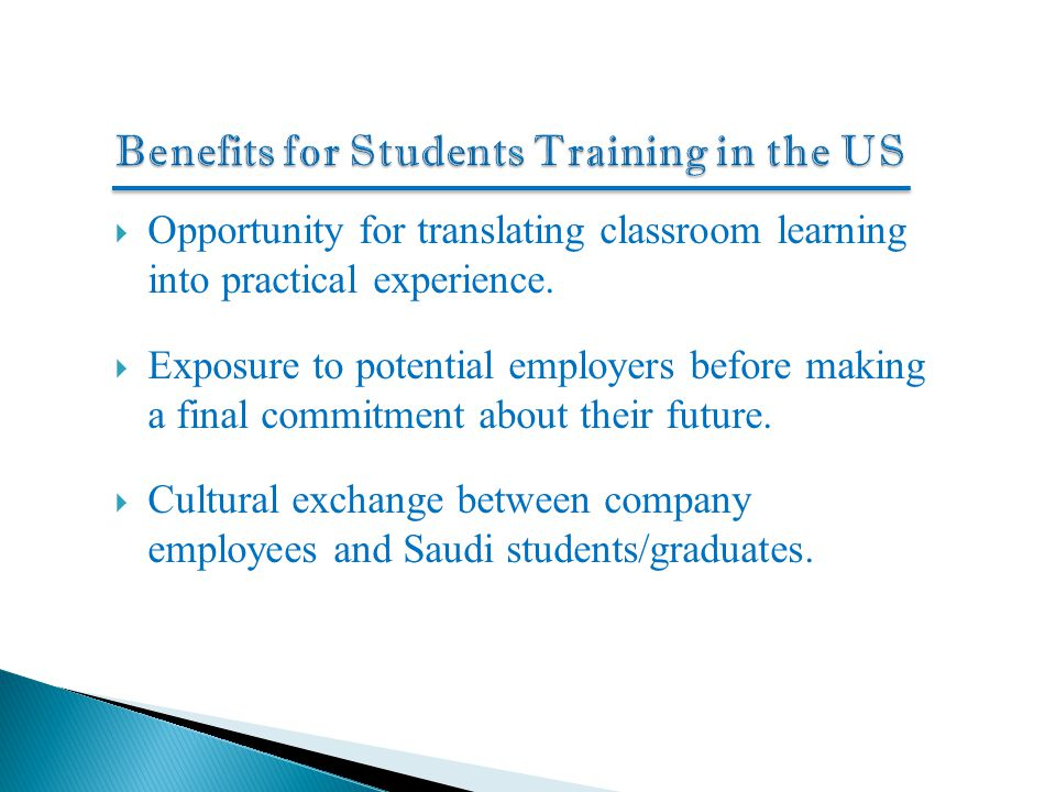Benefits for Students Training in the US